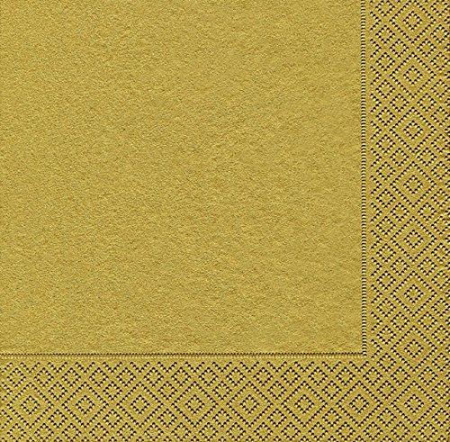 40 Cocktail servietten Uni gold (Uni gold)25x25 cm, Paper + Design Folie Größe offen: 25x25