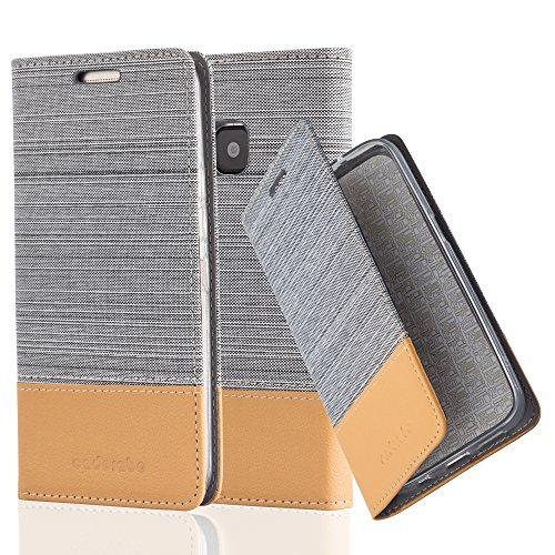 Cadorabo Hülle für HTC ONE M9 (3. Gen.) - Hülle in HELL GRAU BRAUN – Handyhülle mit Standfunktion und Kartenfach im Stoff Design - Case Cover Schutzhülle Etui Tasche Book
