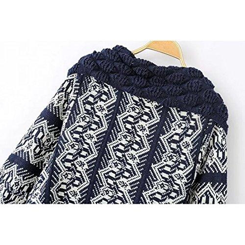 Wenyujh Femmes Cardigan Tricot Imprimé Motif Rétro Veste Châles Cape à Manches Longues Sweaters Casual Fashion Marine