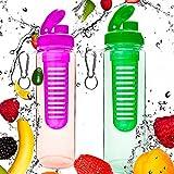 2x 700ml Trinkflasche »FruitInfusior« für Fruchtschorlen / Gemüseschorlen in den Farben Grün, Lila, Blau, Schwarz, Türkis und Rot. Perfekte Sportflasche aus spülmaschinenfesten Tritan-Material mit extra-easy Trinkverschluss und Handschlaufe für einen besseren Halt. pink/grün