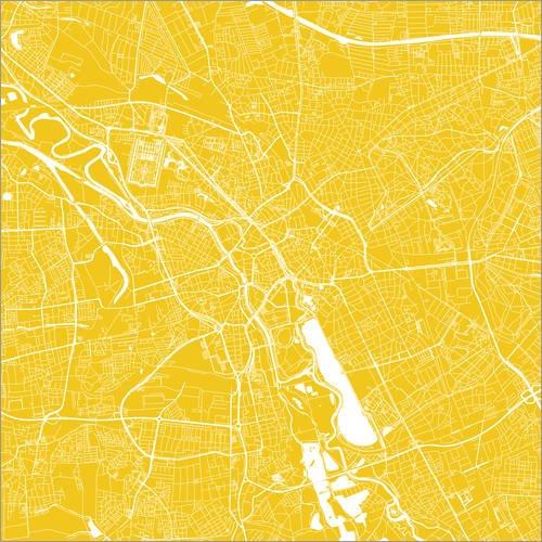 Poster 13 x 13 cm: Stadtplan von Hannover von 44spaces - hochwertiger Kunstdruck, neues Kunstposter