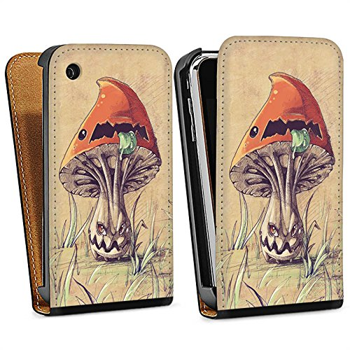 Apple iPhone 4 Housse Étui Silicone Coque Protection Amanite tue-mouches Plante Champignon Sac Downflip noir