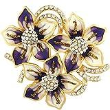 NEOGLORY Blume-Brosche14 K gold Strass Damen Gelb Lila Elegant