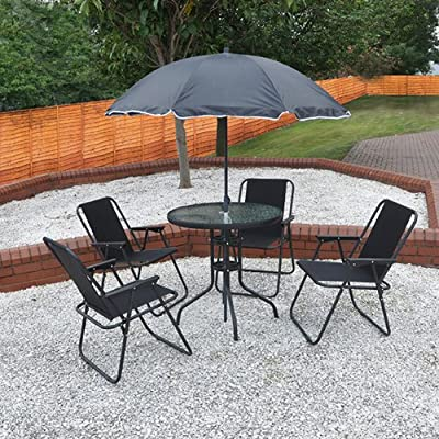 4 Person Garden Furniture Patio Set with Table, 4 Folding Chairs & Parasol produced by Kingfisher - quick delivery from UK.