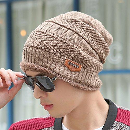 FQG*L'inverno uomini cappelli marea maglia hat maglia fitta hat fall winter kit cappuccio di testa Baotou Cap Giovane Mo , luce colore caffè