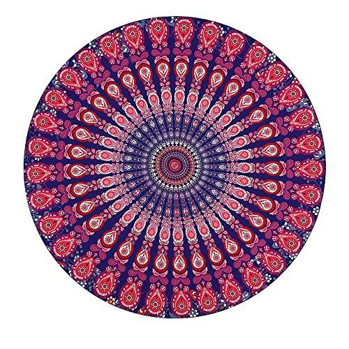 Kaxima plage serviette de plage circulaire imprimé ethnique tapis de plage de vacances coussin de pique-nique tapis de pique-nique tapis de yoga 150x150cm