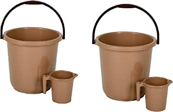 Regalo Unbreakable Plastic Bucket With Mug (16ltr) combo pack Brown