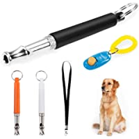Faburo 3pcs Ultrasonic Dog Training Whistles with Lanyard, Clicker, Adjustable Frequencies, Dog Training Set