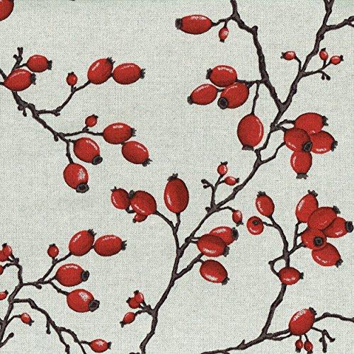 Tela rosa mosqueta - frutos rojos rubí y tallos de color marrón (carbón) sobre un fondo de color lino crudo | ancho: 155 cm (1 metro)