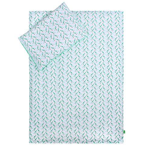 LULANDO Bettwäsche Kinderbettwäsche Bettset 2-teilig Kissenbezug und Bettbezug. Oberstoff 100% Baumwolle. Passend für Kinderbetten 70x140 cm. Farbe: Birds / Dots Mint