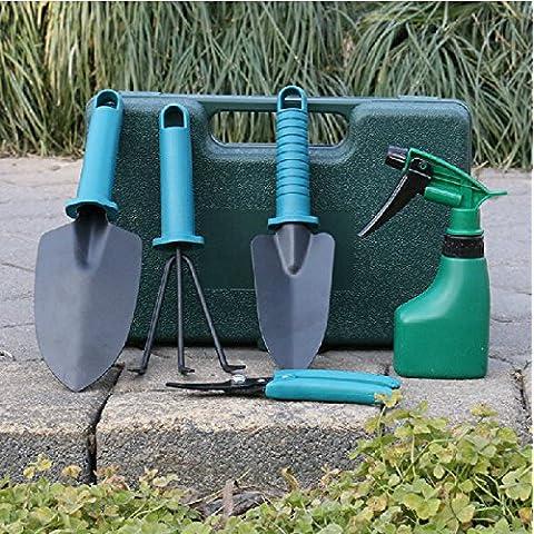 Bluelover Herramientas de jardinería flor planta herramientas suministros traje conjunto jardín de 5