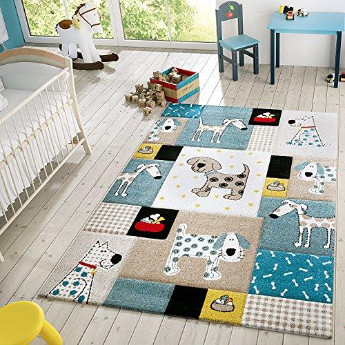 Kinder Teppich Moderner Spielteppich Hunde Karos Pastell Töne In Blau Beige, Größe:140x200 cm