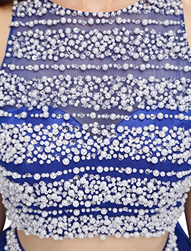 Dressystar Robe femme, Robe de bal courte 2 pièces, dos nu, aux perles, en Tulle Corail