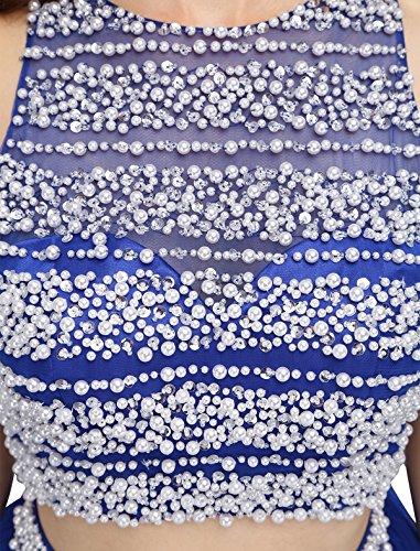 Dressystar Robe femme, Robe de bal courte 2 pièces, dos nu, aux perles, en Tulle Marine