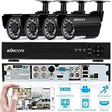 KKmoon Kit de Seguridad 4CH DVR Full AHD 1080N/720P Grabador + 4x 1500TVL Cámara Bala de Vigilancia CCTV Exterior/ Interior HDMI P2P Onvif Network + 4*60ft Cable IR-CUT Visión Nocturna Plug and Play Android/iOS APP Detección de Movimiento Email Alarma