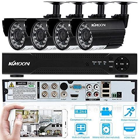 KKmoon 4 Canaux Analog 720P Haute Définition DVR 4pcs 1.0 Megapixels IR Kit de caméras de surveillance