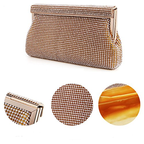 Borsa Delle Donne Strass Vintage Raso Sera Della Busta Cocktail Party Black