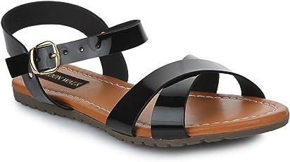 Rosher Patent Strap Flat Sandals