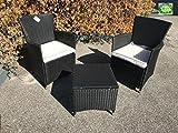 Dimensioni tavolinetto: ca. L 45 x L 45 x A 44 cm Dimensioni poltroncine Polyrattan: ca. L 56 x L 60 x A 86 cm altezza seduta senza cuscini : 41cm Dimensioni cuscini: ca. L 46 x L 42 x A 5.5 cm Colore poltroncine: nero effetto corda cuscino: ...