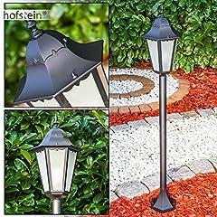Idea Regalo - Lampione Hong Kong Frost in alluminio pressofuso nero con vetro bianco smerigliato - Lampada da esterno per giardino - terrazzo - Illuminazione IP44