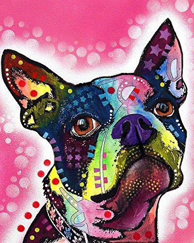 The Picture Peddler Inc. Boston Terrier Dean Russo Modernes Tier Hund (Wählen Sie Größe von Leinwand) 8x10 Print -