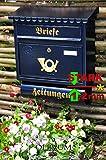 Großer Massivstahl-Briefkasten XXL, verzinkt mit Rostschutz Flachdach F blau edelblau dunkelblau Metall mit Katalogeinwurf und Zeitungsrolle