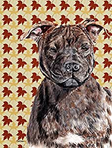 Caroline 's Treasures sc9681chf Staffordshire Bull Terrier Staffie Fall Leaves Flagge Leinwand, groß, multicolor