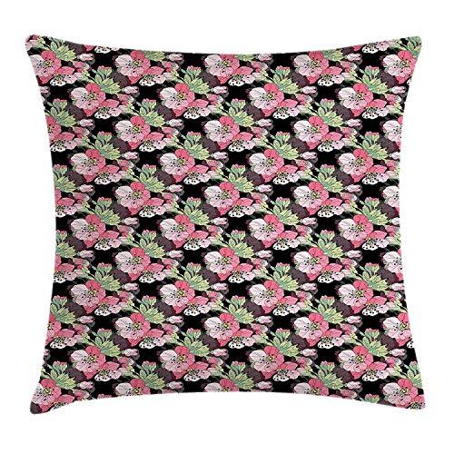 Cherry-gewebe-sofa (Dekokissen KissenbezugBlühender Cherry Blossom Flowers- und Knospen-japanischer Natur Sakura Inflorescence Pillow Cushion Cover Pillowcase,45x45 cm)