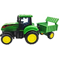 FunBlast Pull Back Vehicles Farm Tractor Truck with Trolley, Friction Power Toy Trucks for 3+ Years Old Boys, Girls…