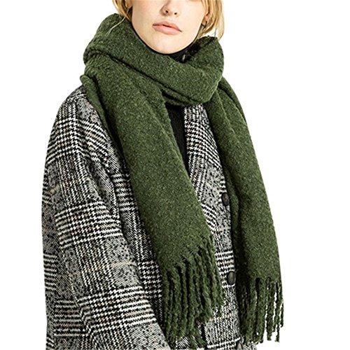 kimloog Frauen Oversize Weiches Kaschmir Gefühl Pashmina Packungen leicht Winter Warm Schal armee-grün (Cashmere-arm)