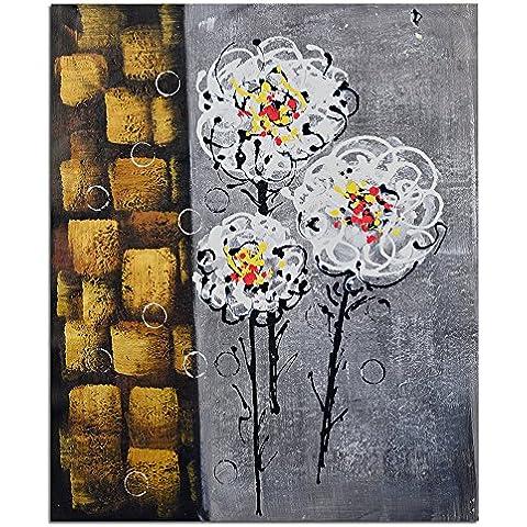Raybre Art® 50 x 60 cm 100% Pintadas a mano sobre Lienzo Cuadros Abstractos Flores Grandes Pintura al óleo Retro para Arte Pared Decoración Hogar Sala Cocina Dormitorio, Sin marco