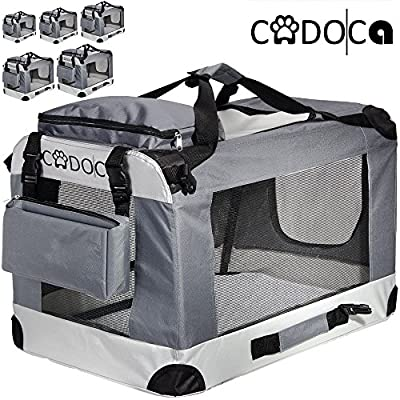 Cadoca Soft-Sided Pet Carrier for Dogs, Cats & Small Animals | Folding, Water-repellent, Washable, Lightweight Steel Frame, Incl. Blanket & Bags | S-XXL by Cadoca