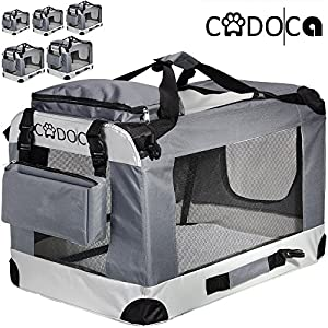 Cadoca-Soft-Sided-Pet-Carrier-for-Dogs-Cats-Small-Animals-Folding-Water-repellent-Washable-Lightweight-Steel-Frame-Incl-Blanket-Bags-S-XXL