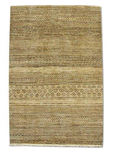 Pak Persian Rugs Handgeknüpfter Gabbeh Teppich, Beige/Elfenbein, Wolle, Small, 100 X 150 cm -