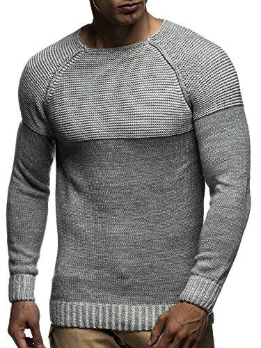 LEIF NELSON Herren Strickpullover Pullover Sweatshirt LN20706; Grš§e L, Grau