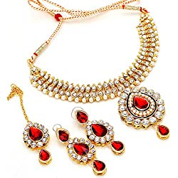 Jewer Kundan Gold Plated Puwai Handmade Bridal Necklace Set & Maangtika For Women