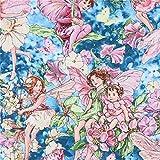 Michael Miller Blauer Stoff mit Feen und Blumen