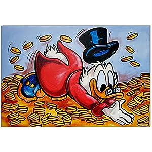 Original Gemälde Acrylfarben auf Leinwand und Keilrahmen: Dagobert Duck Gold bath/ 40x60 cm