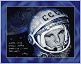 Riolis Kreuzstich-Set Juri Gagarin, Baumwolle, Mehrfarbig, 40 x 30 x 0.1 cm
