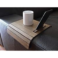 Mini tavolino laterale da bracciolo divano in legno con stand telefono e ebook reader personalizzabile wenge Piccolo…