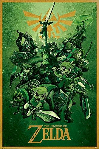 The Legend of Zelda - Link - Videospiel-Serie Action-Adventure LOZ, Maxi-Poster, Druck, Poster - Größe 61x91,5