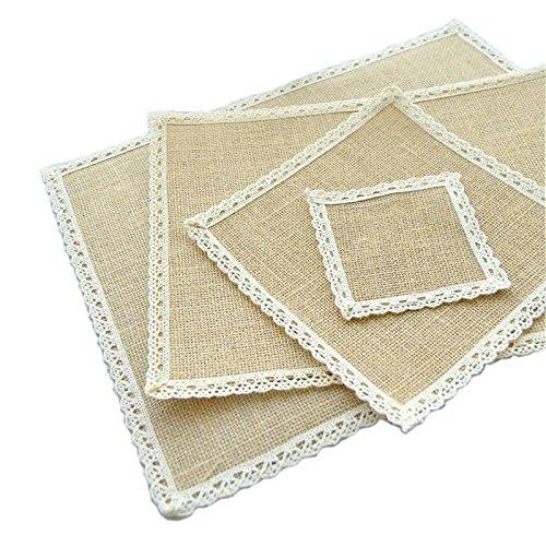 cemats Jute Tischset Hochzeit placemats 30x40 Leinwand Tischdecke für Parteien (2 Packungen) (Hausgemachte Halloween-tischdecken)