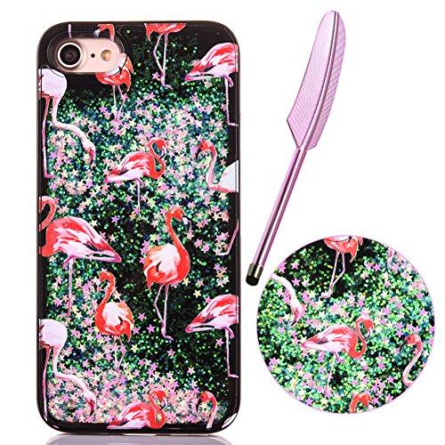 """iPhone 7 Case (4.7""""),iPhone 7 Glitzer Flüssig Hülle,Edaroo Cute Lovely Cartoon Baby Einhorn Regenbogen Sterne Muster Kreativ Flüssigkeit Klar Handytasche Glänzend Glitzer Schwimmend Silber Glitter Gol #B Flamingo"""
