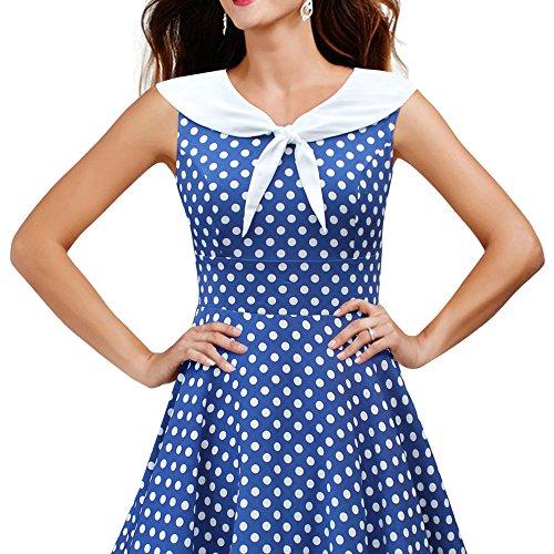 Black Butterfly 'Clio' 50's Polka-Dots Kleid mit besetztem Ausschnitt (Denim, EUR 40 – M) - 3