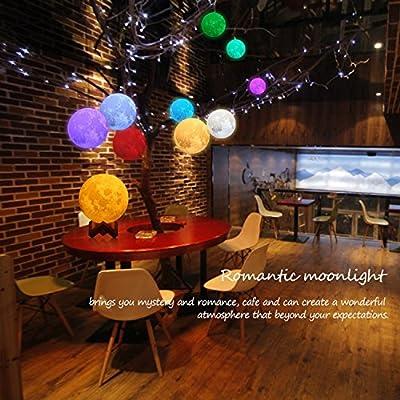 15cm LED Mond Lampe mit Fernbedienung Farbige Dekoleuchte 3D Mond Kunst LED RGB Mondlicht tragbare Nachtlampe mit Touchschalter eingebaut Batteriebetrieben dimmbar, mit Timer, 16 Lichtfarben wechselbar, PLA PVC Material von zhangming