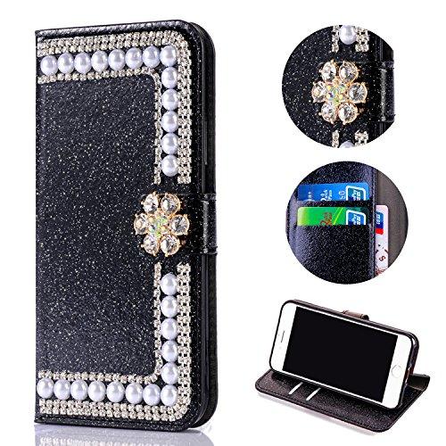 Shinyzone Huawei P10 Lite Flip Brieftasche Hülle mit Ständer halter,Huawei P10 Plus Bling Glitzer Hülle,3D Blume Diamant Magnetverschluss PU Leder mit Kredit kartensteckplätzen,Anti-Scratch Stoßfest Silikon Stoßstange Schutz Luxus Strass Persönliches Design Handyhülle für Huawei P10 Lite,Schwarz