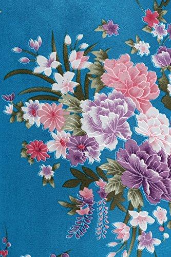 BABEYOND Damen Morgenmantel Maxi Lang Seide Satin Kimono Kleid Blütenkirsche Muster Kimono Bademantel Damen Lange Robe Blumen Schlafmantel Girl Pajama Party 135 cm Lang (See Blau) - 4