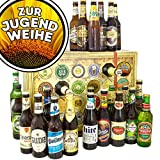 Zur Jugendweihe | Bieradventskalender mit Bieren aus aller Welt und Deutschland | Geschenk zur Jugendweihe für Mädchen | INKL gratis Bierbuch