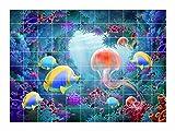 FoLIESEN Fliesenaufkleber für Bad und Küche - Fliesenposter Jellyfish - Fliesengröße 15x15 cm - Fliesenbild 120x90 cm (BxH)