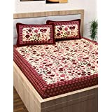 Story@Home Pearl Rajasthani Jaipuri Collection 100% Cotton Double Bedsheet with 2 Pillow Covers, 120 TC - Floral Pattern (Maroon)